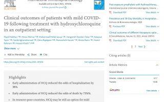 20210406 Clinical Outcomes mild COVID HCQ